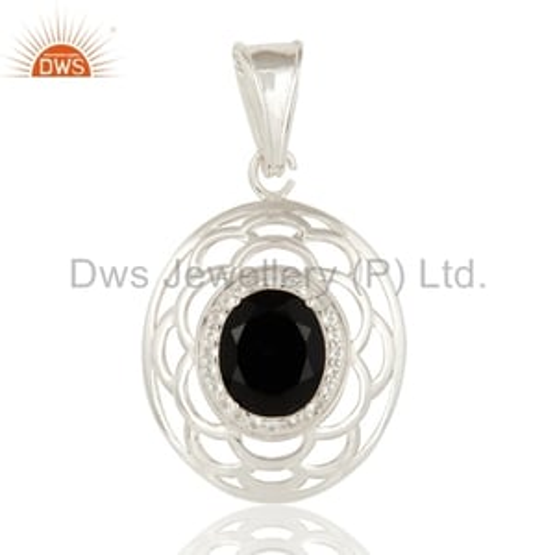 Sterling Silver Black Onyx & White Topaz Pendant