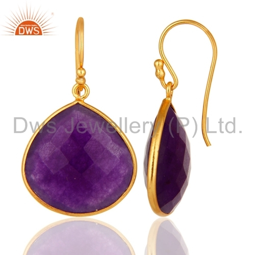 Gold Plated Silver Aventurine Gemstone Earrings Jewelry