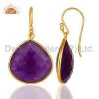 Gold Plated Silver Aventurine Gemstone Earrings Jewelry