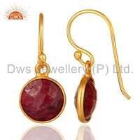 Red Ruby Corundum Sterling Silver Earrings