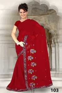 Red Embroidered Printed  Work  Saree