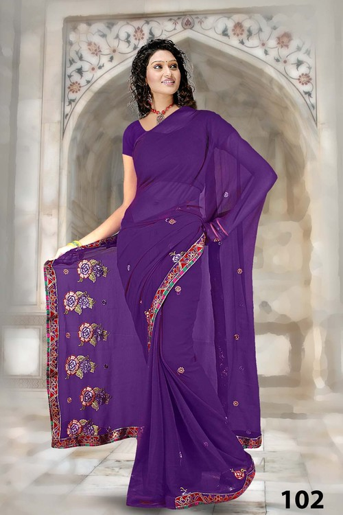 Embroidered Printed  Work  Saree