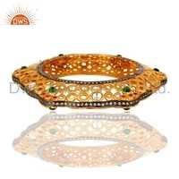 Cz Hydro Green Gemstone Brass Fashion Bangle For Womens