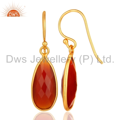 Red Onyx Gemstone Silver Earrings