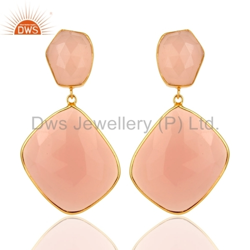 Gold Vermeil Rose Chalcedony Sterling Silver Earrings