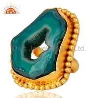 Druzy Hole Gold Vermeil Brass Ring