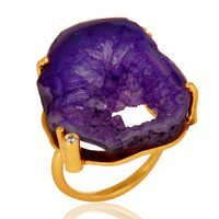 Druzy Agate Gold Vermeil Brass Ring
