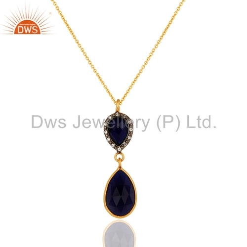 Blue Corundum Gold Plated Sterling Silver Pendant