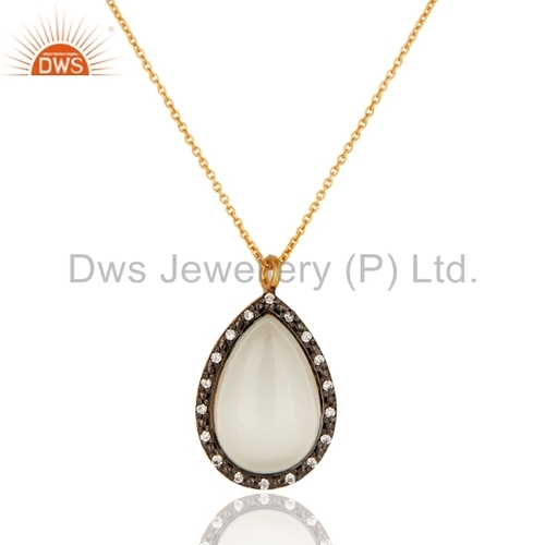 Gold On Sterling Silver White Moonstone Pendant