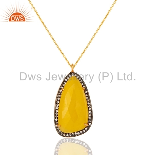 Gold Plated Yellow Moonstone Sterling Silver Pendant