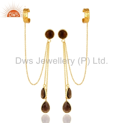 Gold Plated Sterling Silver Smoky Quartz Earrings