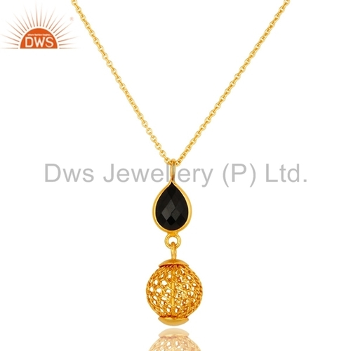 Gold Vermeil Sterling Silver Black Onyx Pendant