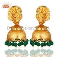 Gold Plated Sterling Silver Green Onyx Earrings