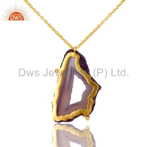 Purple Druzy Agate Gold Vermeil Brass Pendant