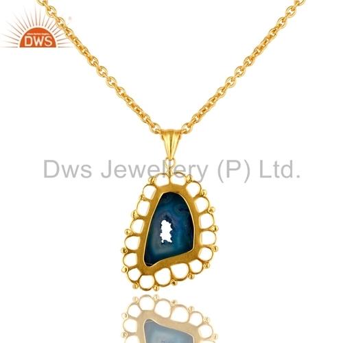 Blue Druzy Agate Gold Vermeil Pendant