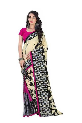 Beige Casual Printed Crepe Georgette with Blouse P
