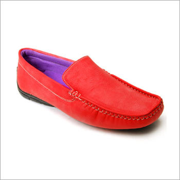 Red Textured Loafers