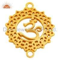 Gold Plated Brass Om Charms Jewelry Findings