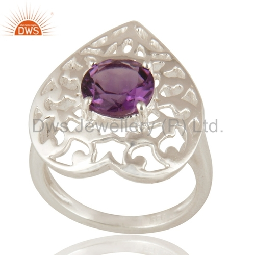 Amethyst Gemstone Sterling Silver Heart Rings