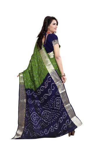 Green Cotton Latest Bandhani Saree
