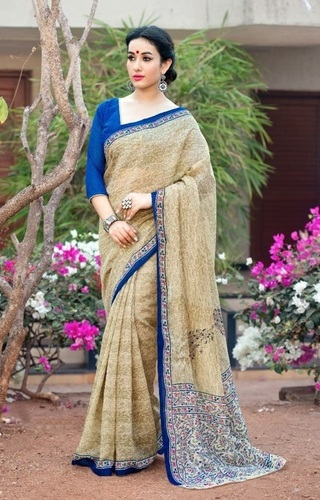 Beige Marvellous Poly Cotton Casual Wear Saree