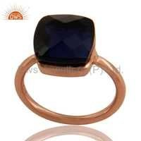 Rose Gold Plated Silver Sapphire Blue Corundum Ring