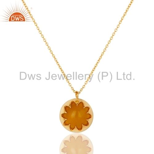 Gold Vermeil Silver Yellow Moonstone Pendant