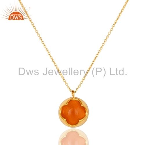 Peach Moosntone Sterling Silver Pendant