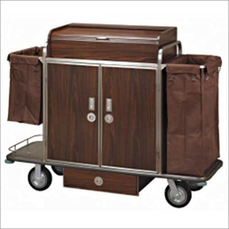 Housekeeping trolley with wood panel
