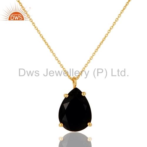 Black Onyx Gemstone Sterling Silver Pendant