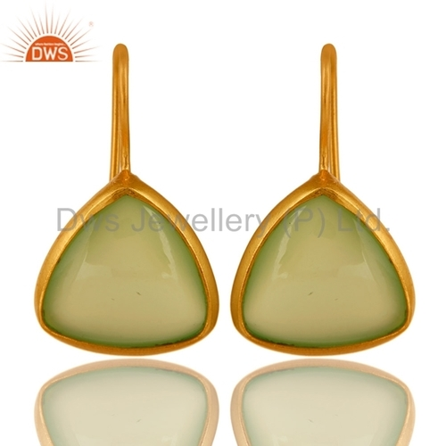 Green Chalcedony Gold Plated Sterling Silver Earrings