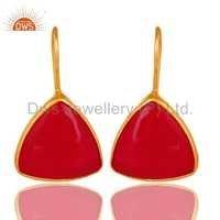 Pink Chalcedony Gemstone Silver Earrings