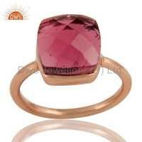 Pink Glass Sterling Silver Ring