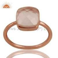 Rose Quartz Sterling Silver Rose Gold Ring