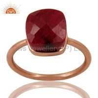 Ruby Corundum Silver Rose Gold Plated Ring