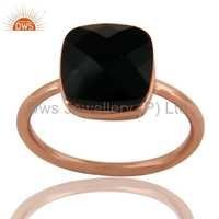 Rose Gold Over Silver Black Onyx Ring