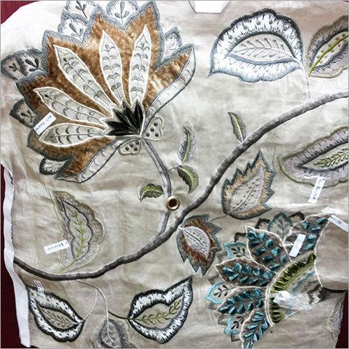 Silk dupion embroidered Fabric