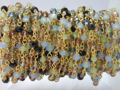925 Sterling Silver Multi Color Glass Beaded Chain Sell Per Meter