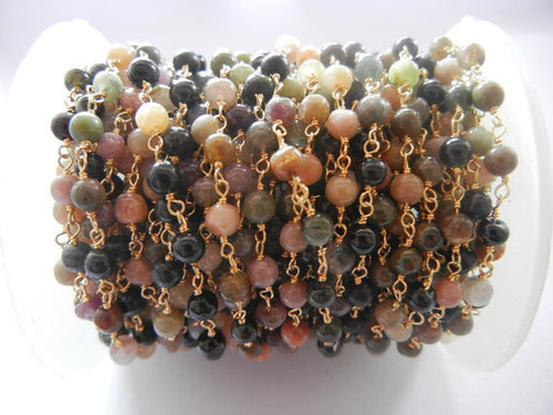 Gold Plated Sterling Silver Multi Tourmaline Gemstone Beaded Chain Sell Per Meter