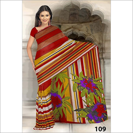 Emerald Printed Embroidery Sarees