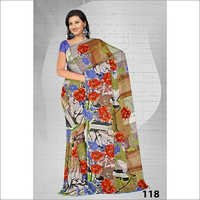 Embroidery Print Saree Manufacture