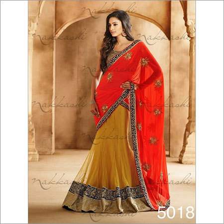 Yellow net Wedding sarees