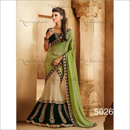 Cream green Wedding sarees