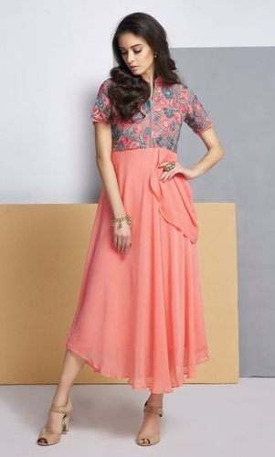 Peach Kurti For Girls