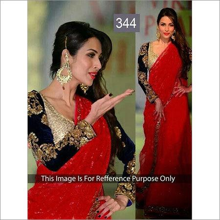 Red Zari Work Saree
