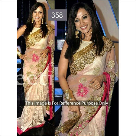 Net Golden work designer saree