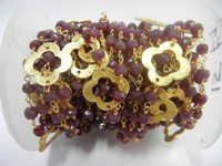 Ruby Beaded Chain with Gold Plated Clover Quatrefoils- Gold Wire Wrapped Bead Chain Sell Per Meter