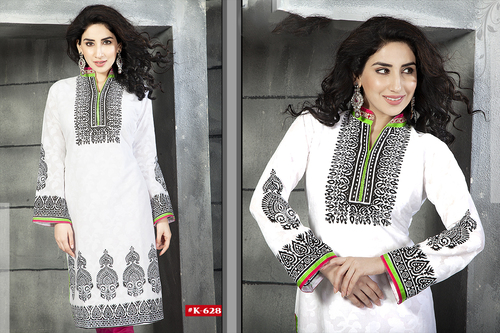 Indian White College Wear Kurti for Girls