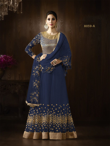 Blue Georgette Designer Wedding Wear Suit