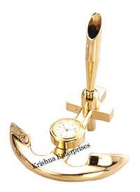 Brass Anchor With Clock Pen Holder